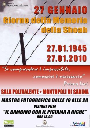 Locandina della manifestazione che si terrà mercoledì 27 gennaio per la giornata della Memoria della shoah